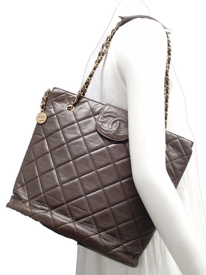 "Chanel 14"" Large Quilted Jumbo Weekender Tote Brown Crossbody Shoulder Bag"