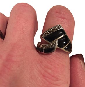 Other Sterling Silver and Black Onyx Twist Ring Size 8