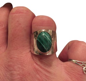 Other Sterling Silver Malachite Wide Band ring Size 7
