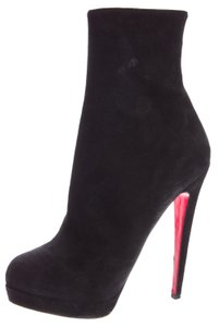 Christian Louboutin Suede Lady Daf Hidden Platform Pointed Toe Ankle Black Boots