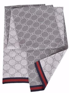 Gucci NEW Wool Grey Reversible GG Guccissima Scarf Muffler