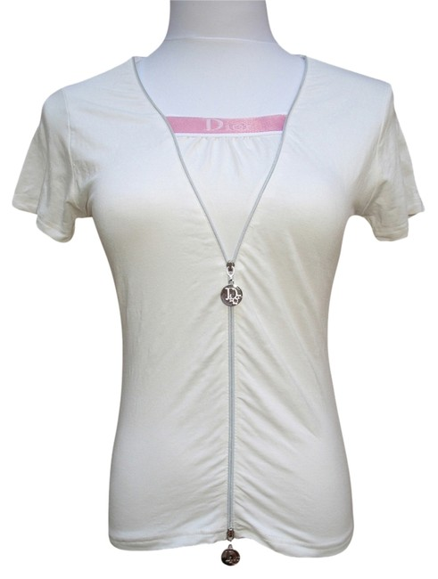 Preload https://item3.tradesy.com/images/dior-off-white-pink-christian-boutique-stretch-cotton-blouse-small-tee-shirt-size-4-s-2042222-0-0.jpg?width=400&height=650