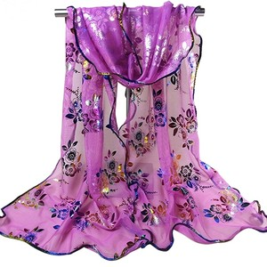 Woman's Ruffled Floral Sequin Scarf Wrap Shawl Free Shipping