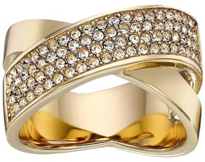 Michael Kors MKJ2867 Brilliance Criss Cross Ring Gold Tone Crystal Pave Size 6