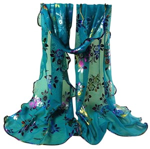 Other Fancy Floral Teal Ruffled Scarf Free Shipping