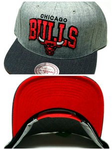 Mitchell & Ness Chicago Bulls Mitchell & Ness Arch Logo Velvet Gray Red Snapback Hat
