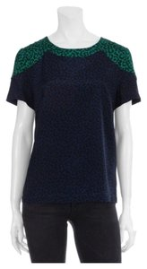 Sea New York Leopard Color-blocking Silk Top Navy Blue & Green