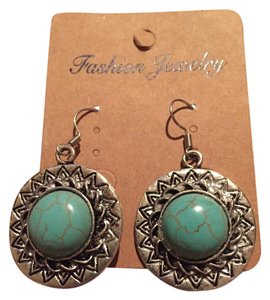 Other Western Style Silver and Turquoise Dangle Earrings