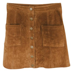 Tobi Front Leather Leather Button Up High Waist Mini Skirt brown