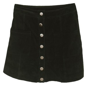 Tobi Up Suede Leather Front Western Mini Skirt Black