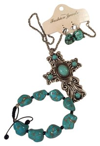 Other Turquoise and Silver Cross Jewelry Set