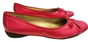 Bellini Patent Vinyl Slip On Rubber Sole Bow Tie Accent Pink Flats