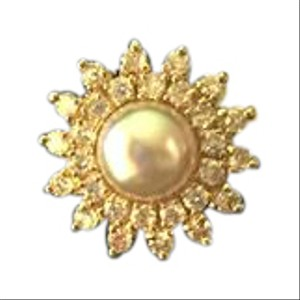 Sunflower & Pearl Yellow Gold Filled Ring Size 4.5