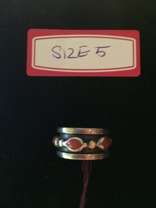 Other Solid Genuine Sterling Silver and Coral Wide Band Ring Size 5