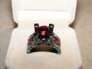 New For 2017 Blue & Red Zircon Ring Free Shipping