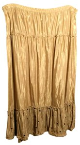 Mossimo Supply Co. Full Studded Shiny Ruffles Maxi Skirt Gold
