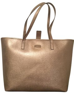 Michael Kors Leather Metallic Hardware Tote in Gold