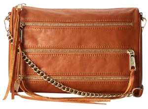 Rebecca Minkoff Leather Gold Hardware Clutch Cross Body Bag