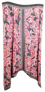 INC International Concepts Maxi Full Angled Gray Skirt Pink