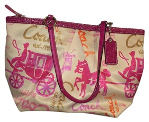 Coach Tote in pink white