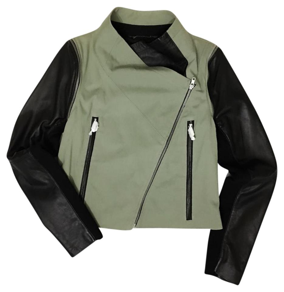 bb8f01a11 Cut25 Black Military Olive Green Canvas & Leather Biker Combo Jacket Size  10 (M)