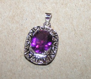6448c2115 Silver/Purple Bogo Free Splendid Amethyst Pendant with Free and Shipping  Necklace