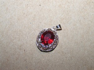 Marvelous Red Zircon Pendant With Free Necklace And Shipping