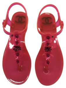 Chanel 35 Jelly Flip Flops Camelia Pink Sandals