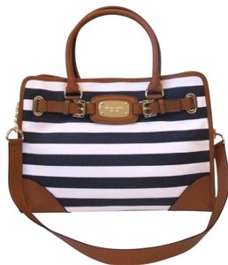 Michael Kors Canvas Leather Gold Hardware Tote in Navy and White