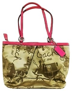 Coach Sateen Pleated Horse Carrraige Signature Tote in Gold and Pink