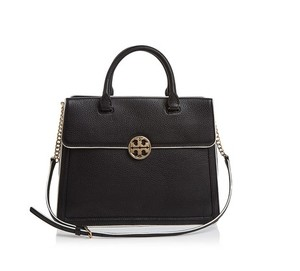 Tory Burch Duet Satchel in Black / New Ivory