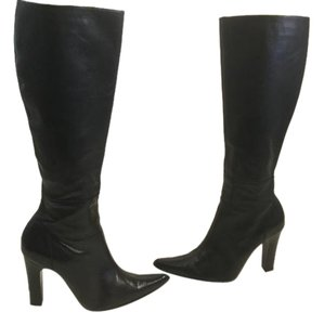 Charles David Stretch Stack Wood Heels Toe Black all leather pointed knee Boots