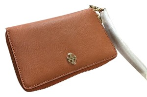 Tory Burch Leather Phone Wristlet in Luggage