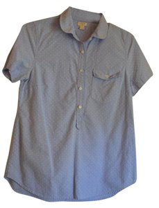 J.Crew Top French Blue with White Dots