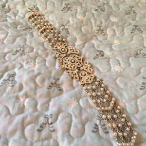 Jessica McClintock Pearl Beaded Silver Choker With Crystals