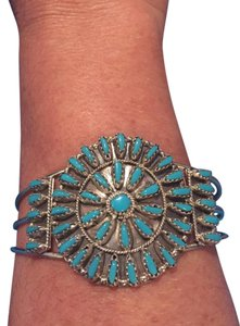 Other Genuine Sterling Silver and Turquoise Tribal Style Cuff Bracelet