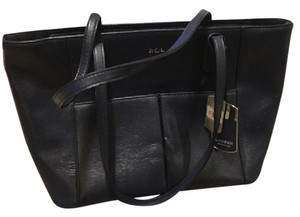 Ralph Lauren Leather Pocket Tote in Navy