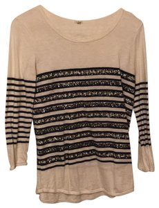 J.Crew T Shirt Navy stripes with silver sequins