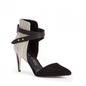 Sole Society Leather Black Suede and Print Pumps