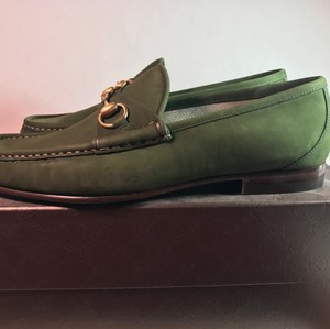Gucci Men Brown Loafers Horsebit Mocasines Sale Cleareance Green Flats