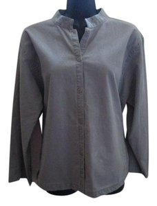 Eileen Fisher Cotton Career Formal Winter Spring Button Down Shirt Gray