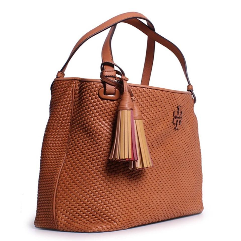 2626c181d66d Tory Burch Thea Woven Leather Center Zip Peanut Tote - Tradesy