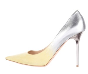 Jimmy Choo Suede Silver Hardware Ombre Agnes Pointed Toe Silver, Yellow Pumps