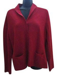 Eileen Fisher Tomato Wool Sweater Winter Spring Cardigan