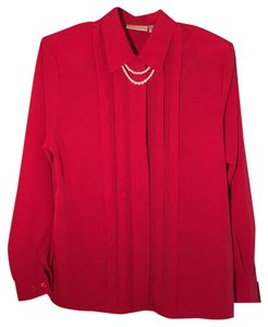 Christie & Jill Pearls Tuxedo Top Red