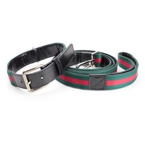 Gucci Authentic Gucci Signature Stripe Dog Leash & Collar Set