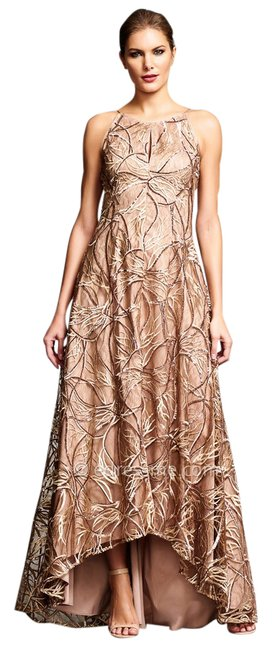 Item - Gold Sequin Embroidered Lace & Silk High-low Gown Long Formal Dress Size 6 (S)