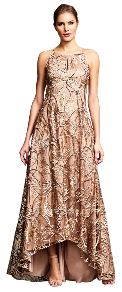 Aidan Mattox Gold Sequin Embroidered Lace Silk High Low Gown Long