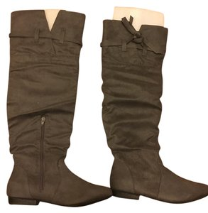 JustFab Suede Knee High Fashion Grey Boots