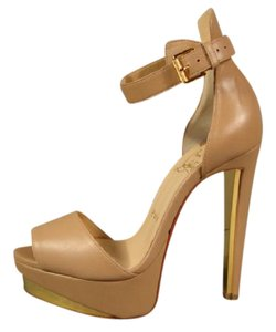 Christian Louboutin New Gold Trim Open Toe Beige/Nude Platforms